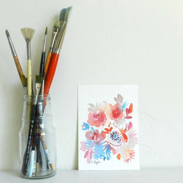 Original Sea-Inspired Watercolor Flower Painting by Elise Engh