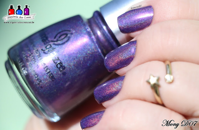 China Glaze, Multichrome, Pondering, roxo, carimbada, Great Outdoors, We Got The Beat, Lite Brites, glitter, OMG, LOL, Holográfico, Brand Sparkin' New Year, Holiday, coletivo, Tema da Semana, Alquimia das Cores,