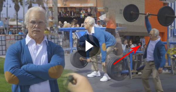 Athlete Disguised As an Old Man Wowed People at the Muscle Beach
