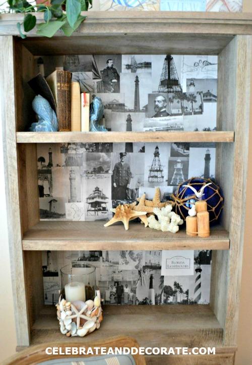 DIY Back of Bookcase Photo Collage Idea
