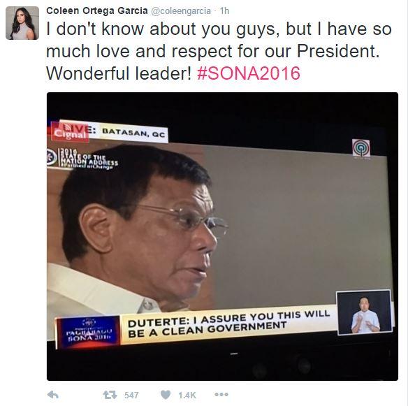 Coleen Garcia expresses admiration for President Duterte