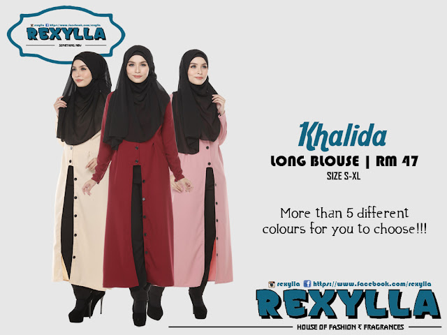 rexylla, long blouse, button blouse, long button blouse, khalida collection
