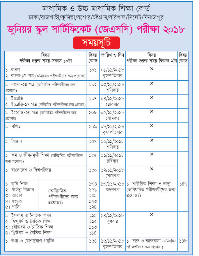 JSC Examination routine 2018
