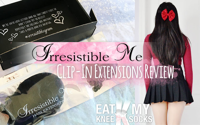 Today I'll be reviewing my first ever hair extensions! IrresistibleMe sent me a set of extensions of my choice, and I picked out their Silky Touch clip-in extensions in Natural Black. Details ahead! - Eat My Knee Socks/Mimchikimchi