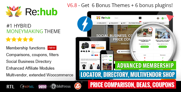 Free Download REHub WordPress Theme 6.9 – ThemeForest | REHub v6.9 – Price Comparison, Business Community, Multi Vendor, Directory Theme (Updated 6.9 – on 7th April 2017) for WordPress is a  complete modern multipurpose hybrid theme having fully user generated, magazine, review, blog, directory, shop and affiliate professional options. It has an emphasis on modern style content and has different kind of options for coupon, affiliate earnings, review website and e-shops. So that you can use it for different kind of purposes such as review system, comparison websites, from standalone blog to portal with shop, digital products shop, news magazine and user generated sites.