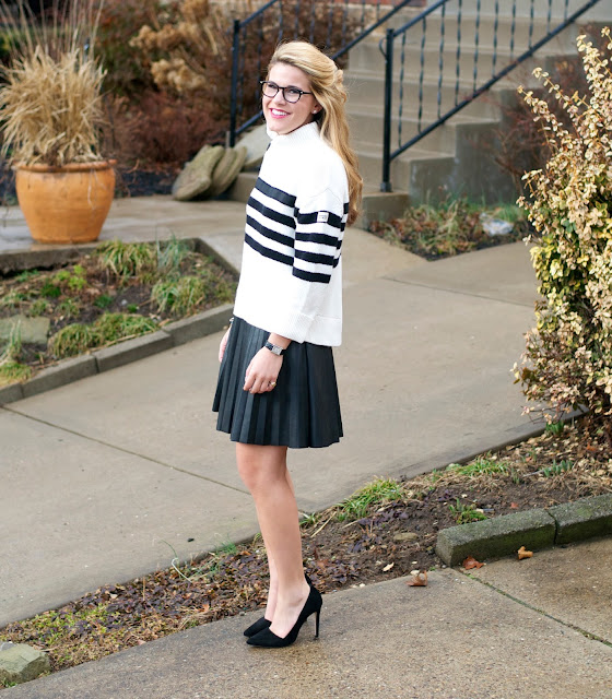 Summer Wind: Striped Sweater   Leather Pleated Skirt