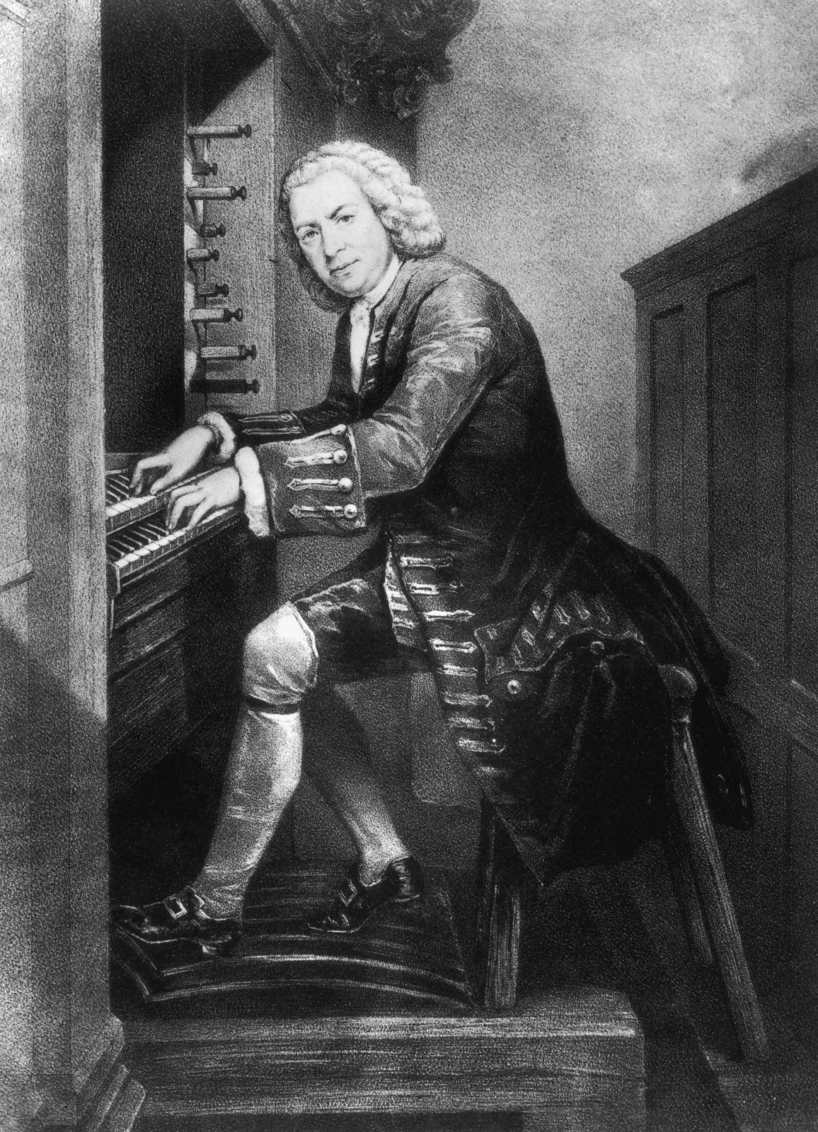 オルガンの席に着いたヨハン・セバスティアン・バッハの肖像