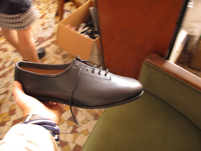 Leather cycling shoes in Alex Singer shop