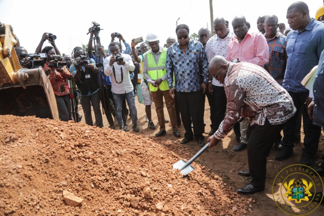 President Akufo-Addo Cuts Sod For Construction Of Tema Town Roads; Inspects Progress On Motorway Works