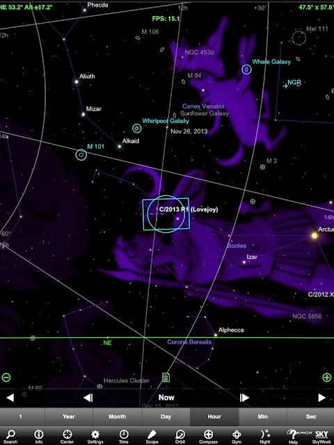 凌晨四點左右愛嬌姨^^(Lovejoy)的位置(使用Skysafari+星圖)