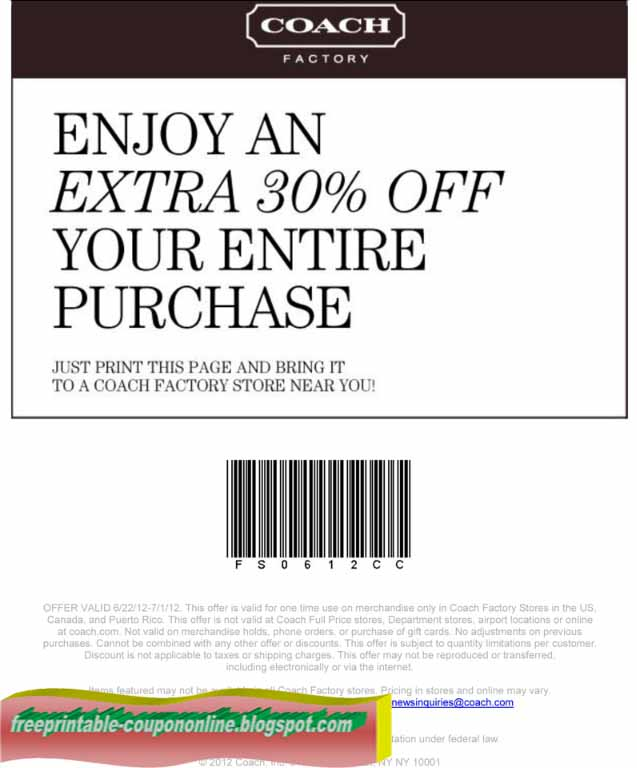 Printable Coupons 2018: Coach Coupons