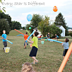Pool Noodle and Balloon Relay Race