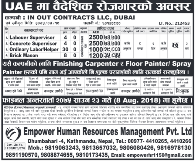 Jobs in Dubai for Nepali, Salary Rs 74,000