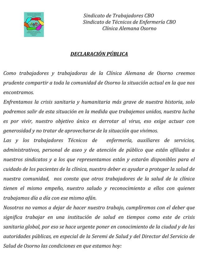 Sindicatos cuestionan a la Dirección de la Clínica Alemana Osorno