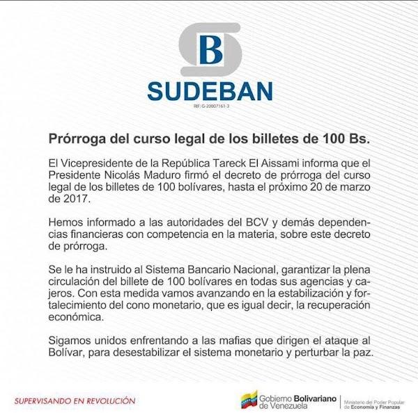 Oficializan en Gaceta 41.098 prórroga para la circulación de los billetes de cien bolívares hasta el 20 de marzo