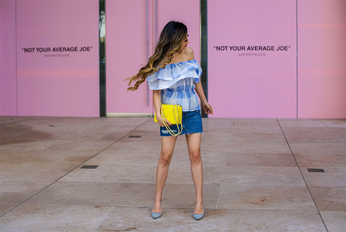 blue ruffle off shoulder top,studded denim skirt, tory burch crossbody bag, kendra scott earrings, stripe pumps, summer style, san francisco fashion blog, san francisco street style