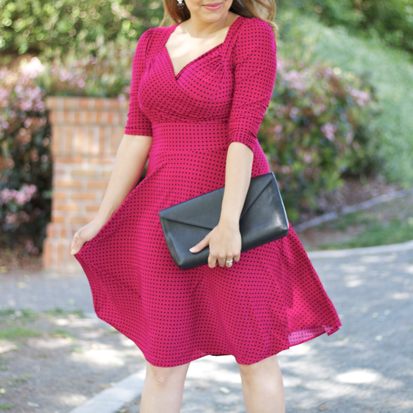 cool and comfy dresses, polka dot dress, karina dresses blogger, karina dresses amabassador