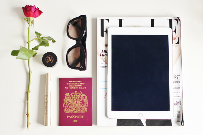 Travel, Essentials, Tips, Beauty, Fashion, Tech, UK, Blogger, Flatlay, Celine, Ipad, Mascara