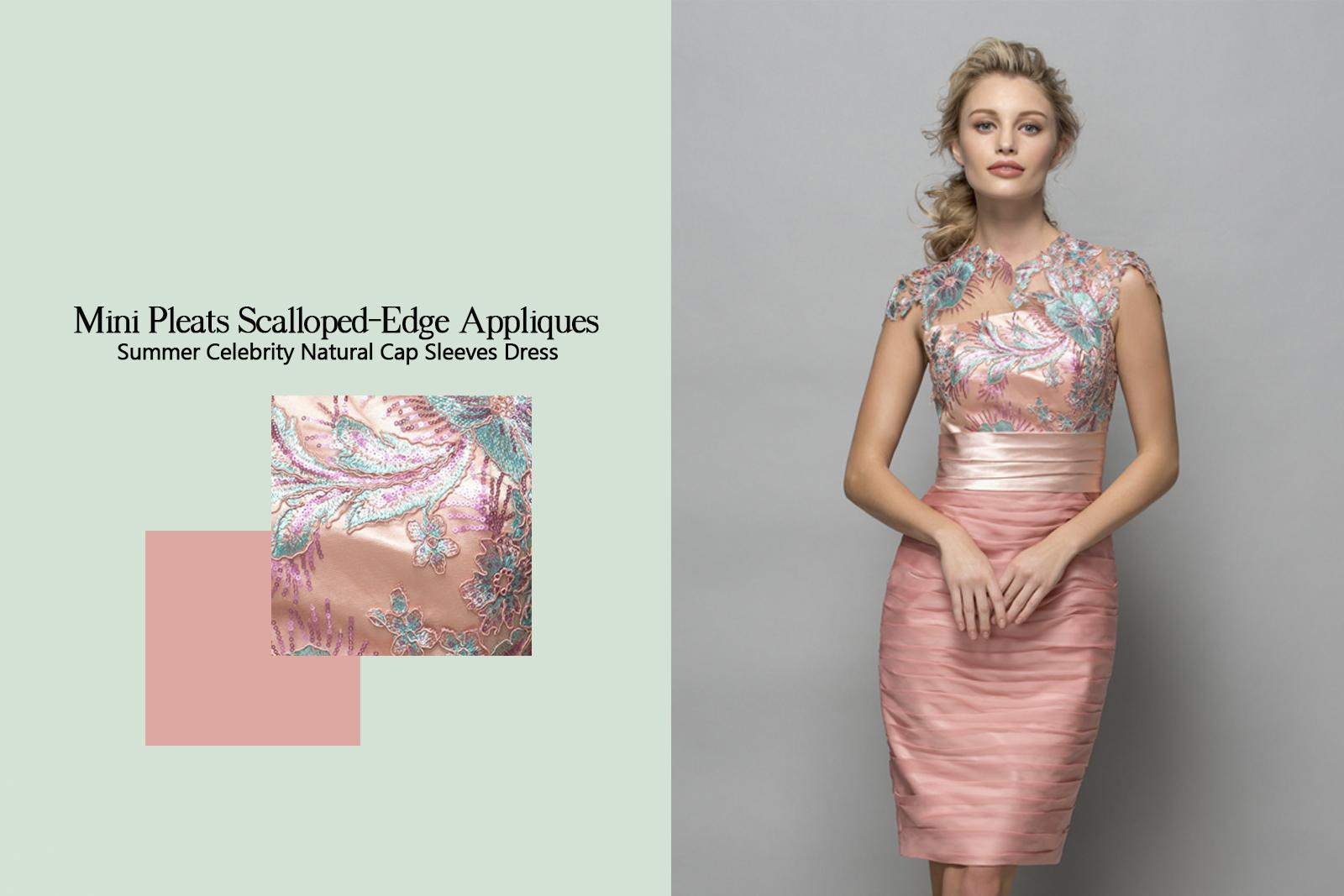 Short/Mini Pleats Scalloped-Edge Appliques Summer Celebrity Natural Cap Sleeves Dress