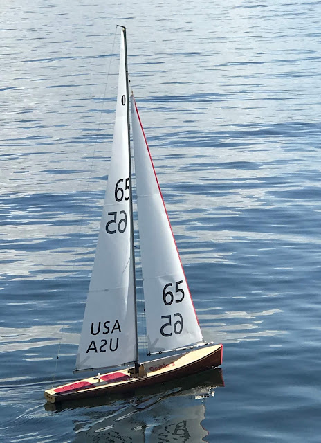 Corbie 5 IOM RC wood sailboat