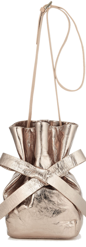 JImmy Choo Eve Nude Metallic Crinkled Lambskin Bucket Bag
