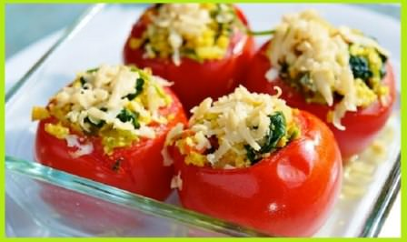 Cheese Rice Stuffed Tomatoes Recipe