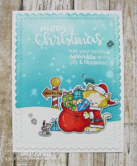 Merry Christmas Card by Holly Endress | Santa Paws Newton and Sentiments of the Season Stamp Sets by Newton's Nook Designs #newtonsnook #handmade