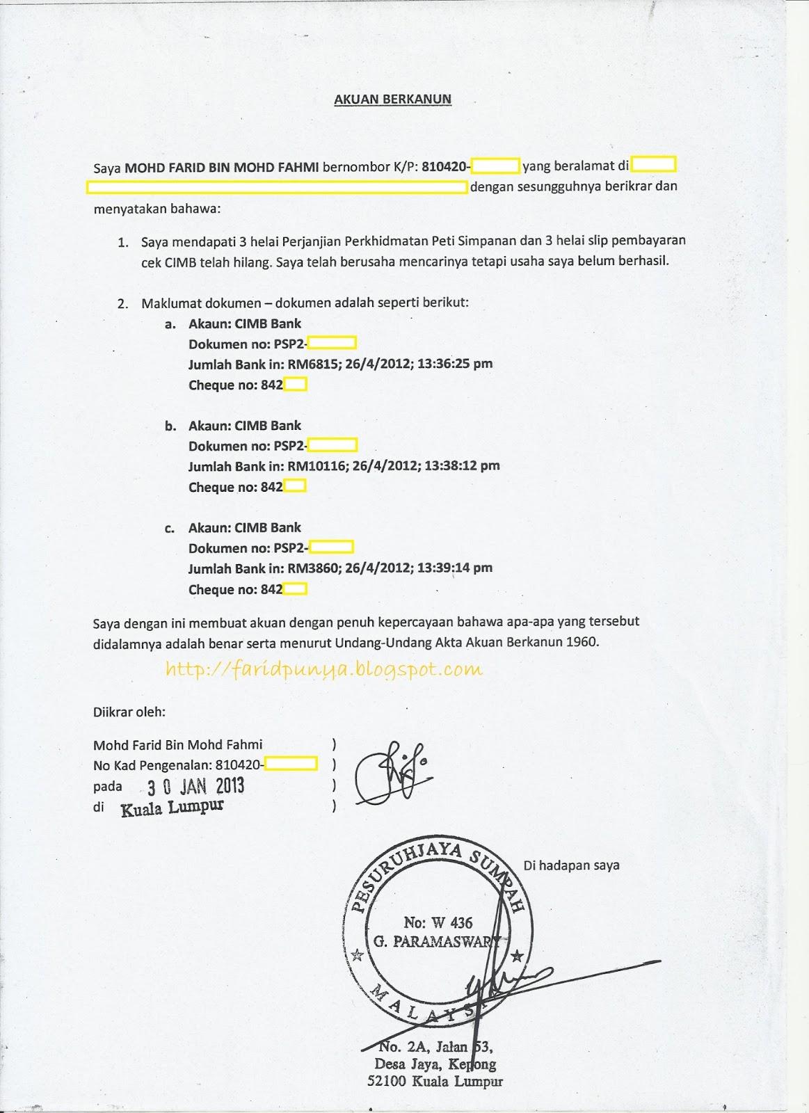 Contoh Surat Emas