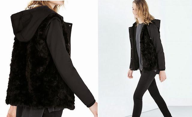 курточка с меховыми вставками и капюшоном