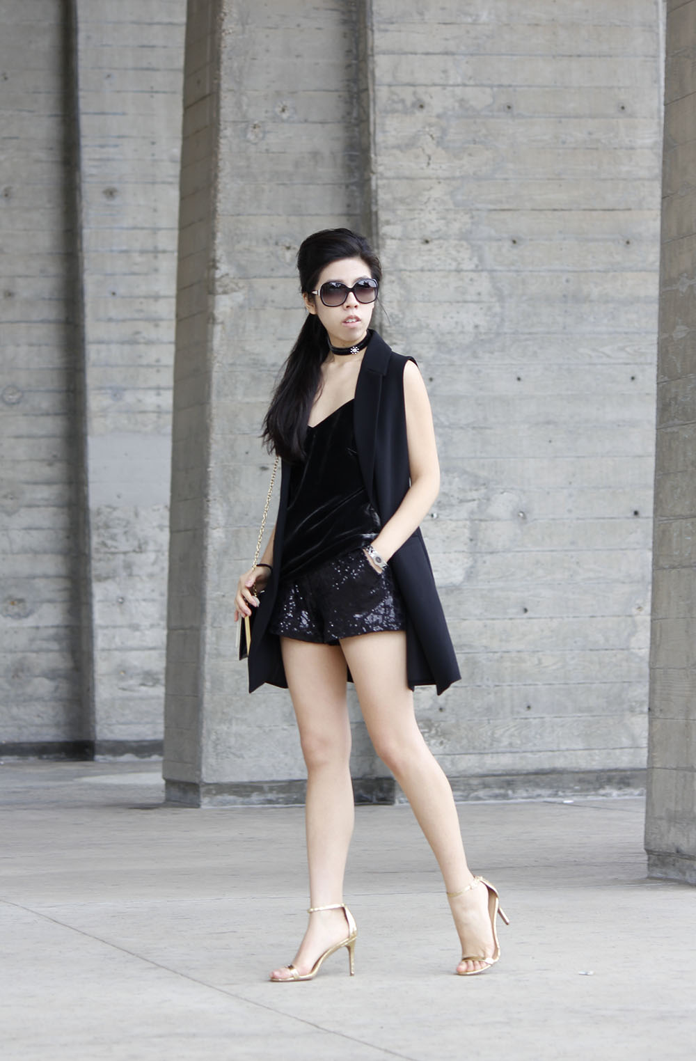 Velvet Choker and Velvet Cami_Choker and Velvet_Sequined Shorts_Adrienne Nguyen