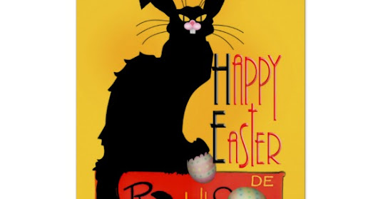 Easter Le Chat Noir Greeting Card at Zazzle! Funny fine art parody of a special cat with bunny ears and whiskers.