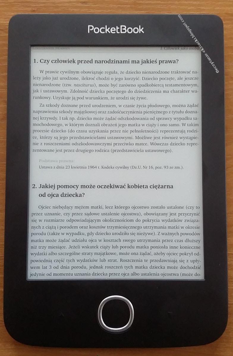 Plik pdf w trybie dopasowanie do szerokości z jednoczesnym przycięciem marginesów na czytniku PocketBook Basic 3