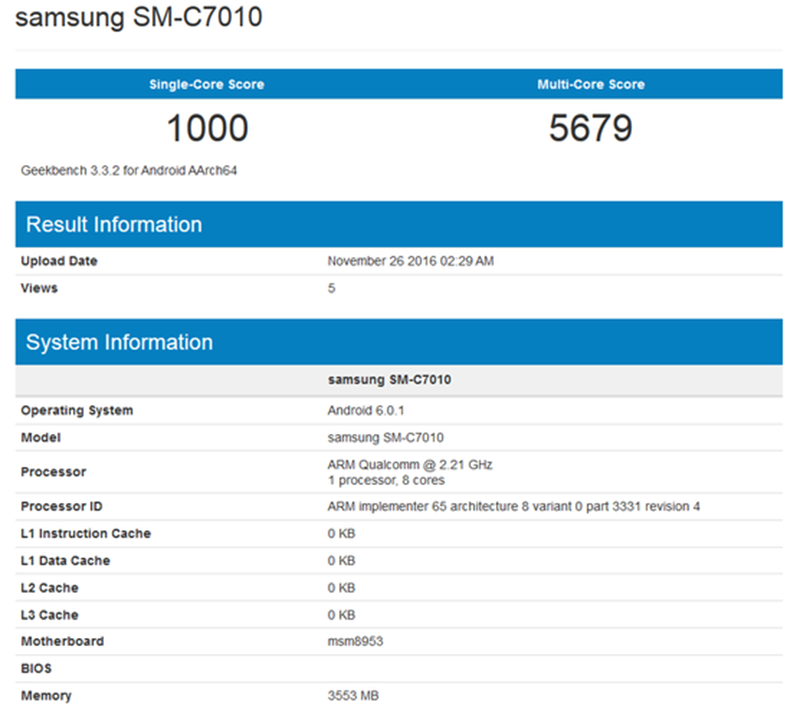 Single core score of 1,000 and multi core score of 5,679 at Geekbench
