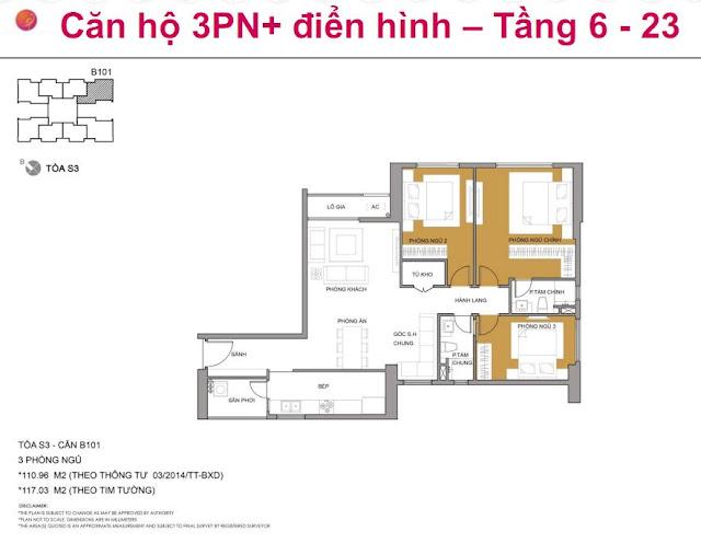 Căn hộ 3PN+, tòa S3, Seasons Avenue