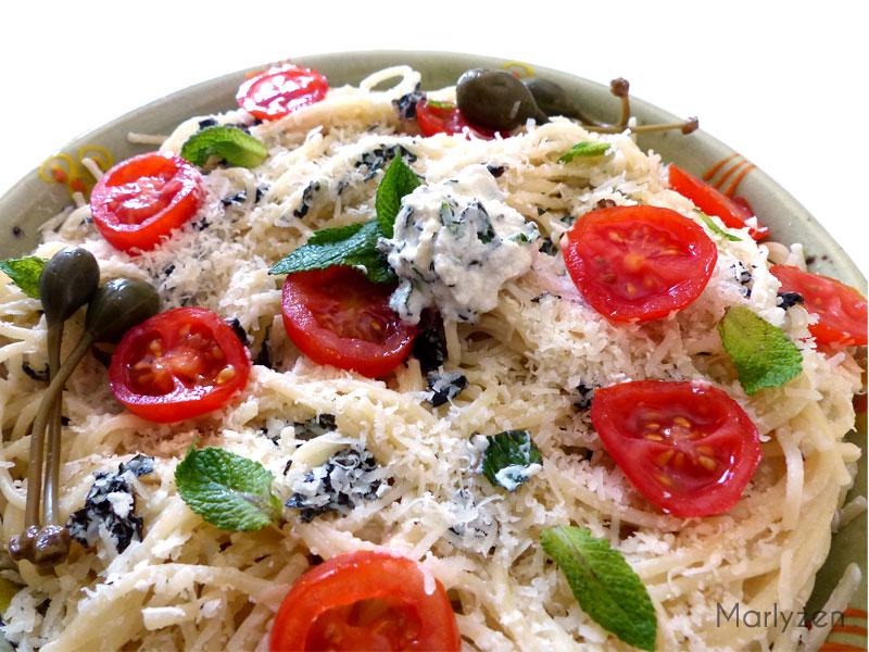 Spaghetti à la ricotta mentholée
