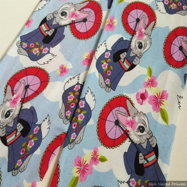 kimono wearing bunny printed tights flatlay