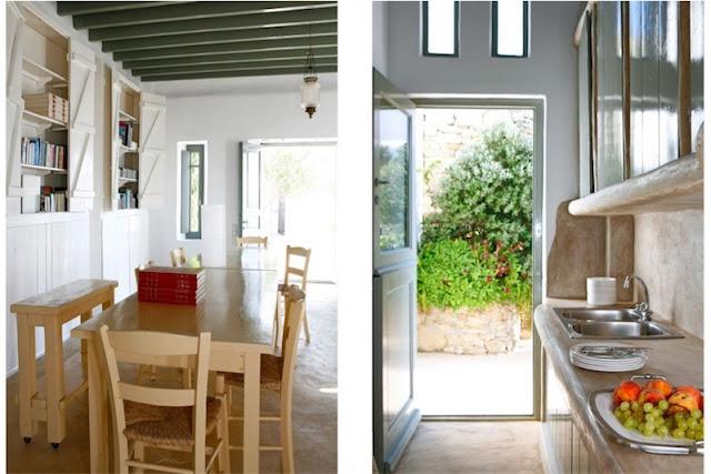 cocina de microcemento beige casa en mykonos chicanddeco