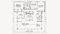 plano de casa japonesa cuadrada de un piso, 3 dormitorios, 2 baños de 18,29 x 18,29 metros con medidas en pies cuadrados