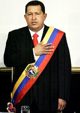 Imagen de Hugo Chávez con banda presidencial