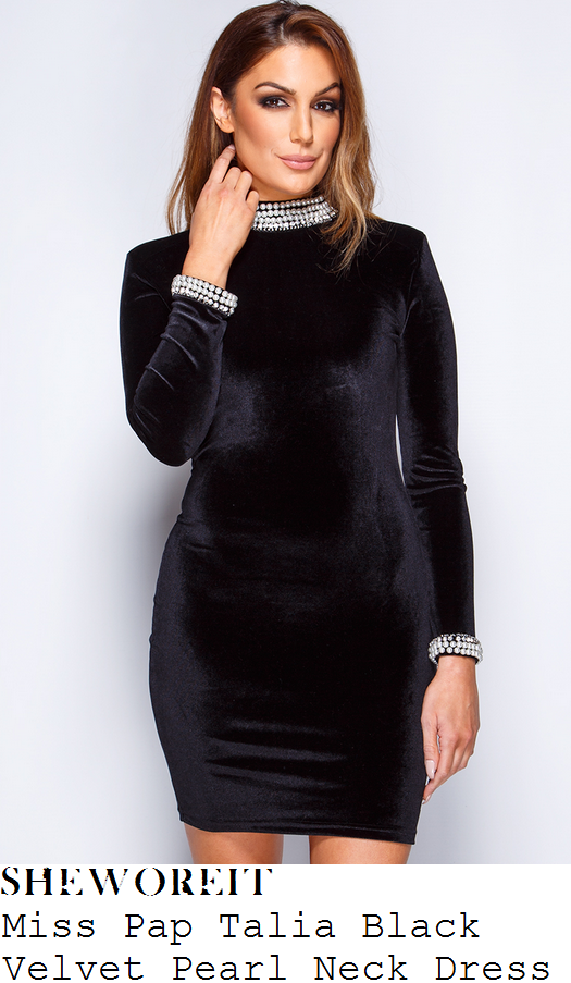 megan-mckenna-miss-pap-talia-black-velvet-pearl-neck-mini-dress