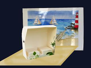 Fotocolage zeigt Strandkulisse und Strandkorb
