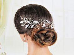 K'Mich Weddings - wedding planning - bridal headpieces - silver leaves hair vine bohemian - esty
