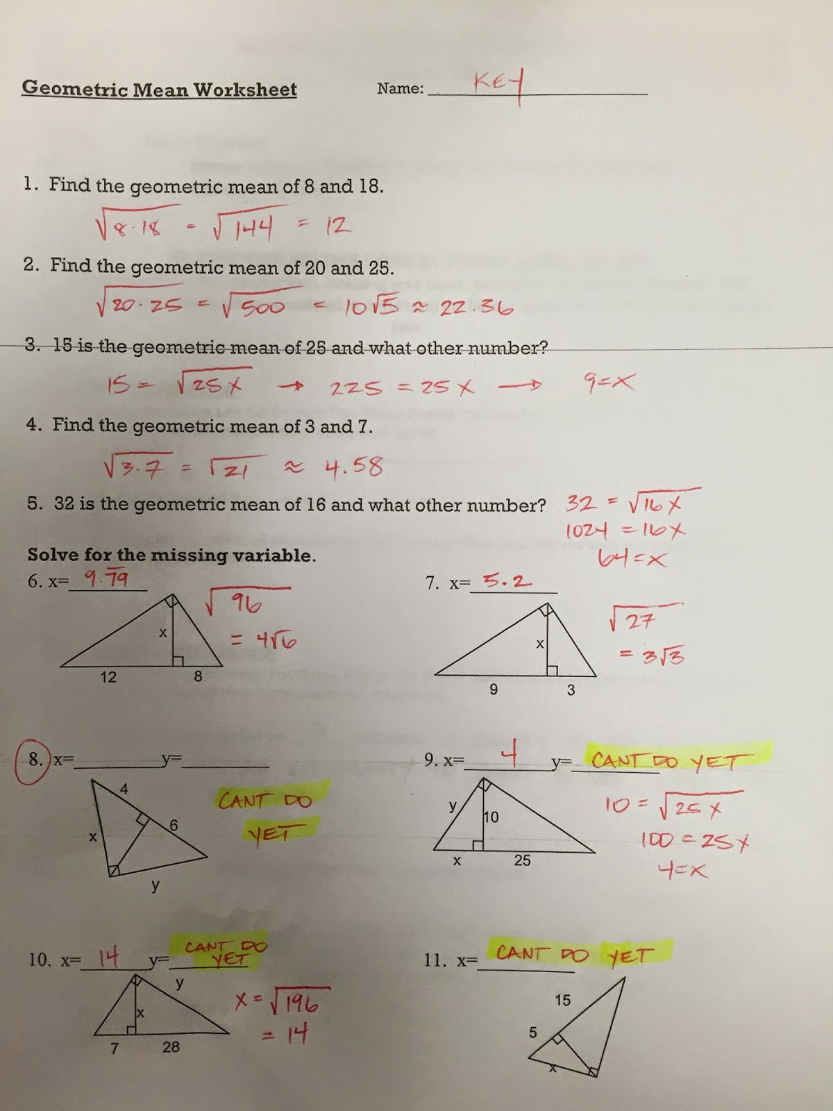 Honors Geometry - Vintage High School: Section 8-1 ...