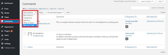 WordPress Move Comment into Trash