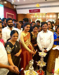 Keerthy Suresh in Saree with Cute and Lovely Smile at Opening of AVR Jewellers in Attur