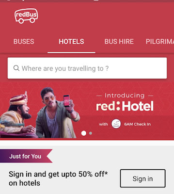 How to Get RedBus 50% Off on Hotel Booking(With 6 AM Check-In )