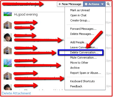 how to delete old facebook messages permanently