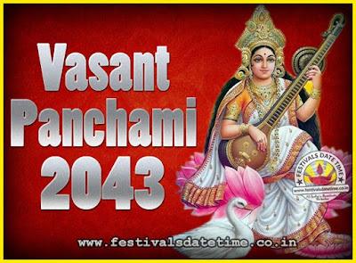 2043 Vasant Panchami Puja Date & Time, 2043 Vasant Panchami Calendar