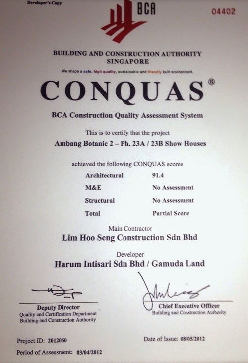 Chứng chỉ CONQUAS trao tặng cho Gamuda Land.