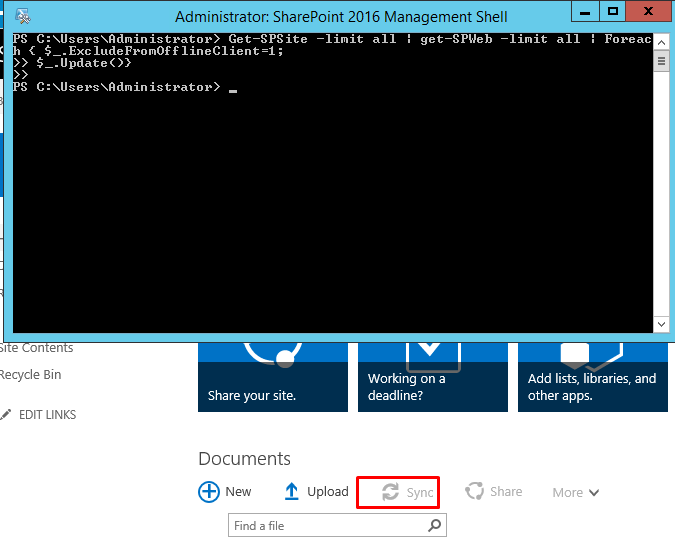 SharePoint : PowerShell to disable and enable the Sync
